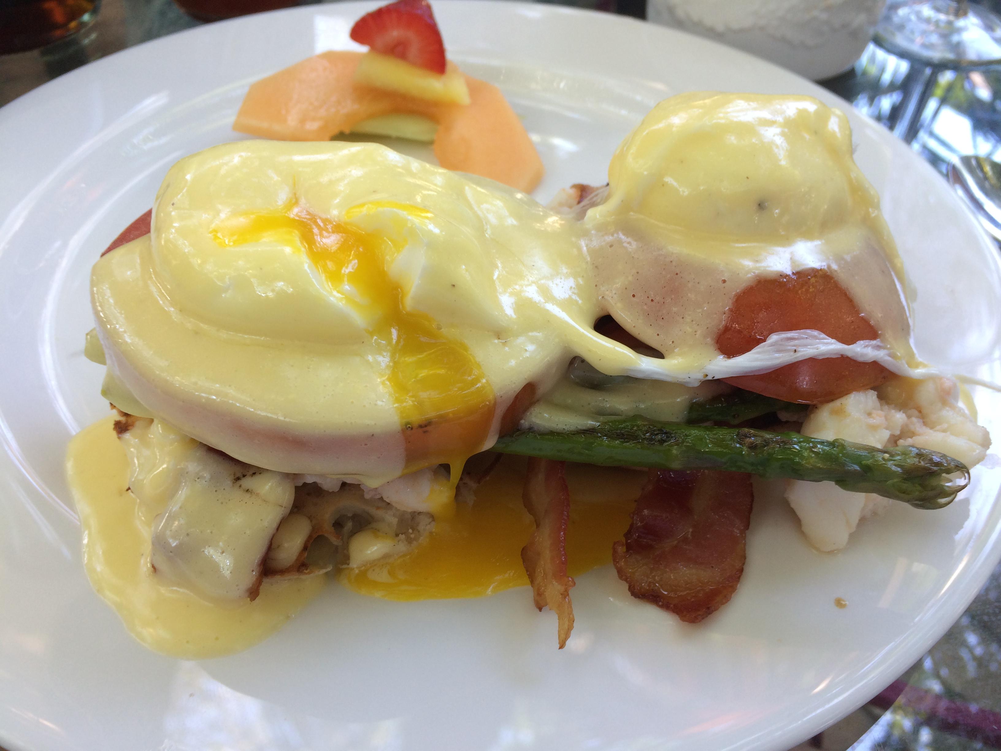 Bacon, lobster, tomato, eggs benedict